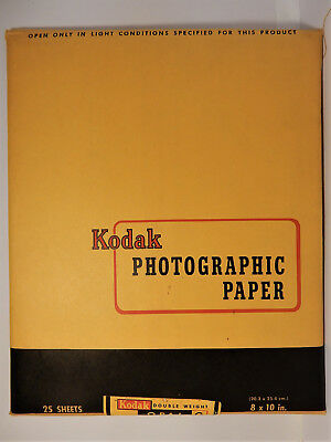 Vintage Kodak Photographic Paper- 8 x 10- 25 Sheets- Sealed- Expired April 1952