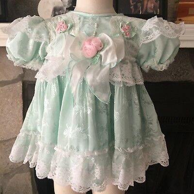 Gorgeous Mint Full Circle Ruffle & Lace Party Dress  Toddler 12-24m (Tagged 18m)