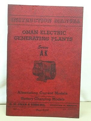 Vintage ONAN AK 925-4 instruction manual