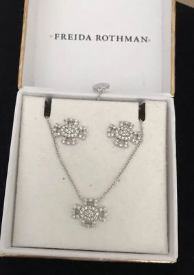 Freida Rothman Maltese Earrings & Necklace Set Silver 925 Rhodium NIB $175