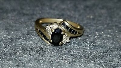 10k gold ring  black saphire and diamonds sz 5.5 2.4 grams not scrap wearable