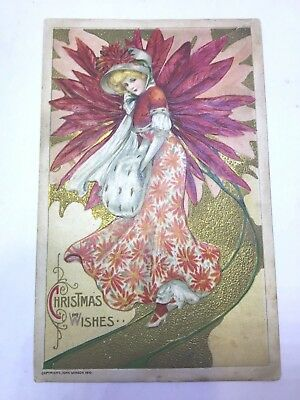 VINTAGE POSTCARD ARTISIT SCHUMACHER, unsigned, lady with muff, Winsch, unposted