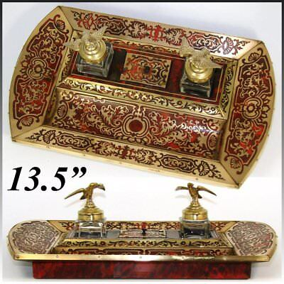 "Antique French Napoleon III 13.5"" Boulle Double Inkwell, Inkstand, Eagle Tops"