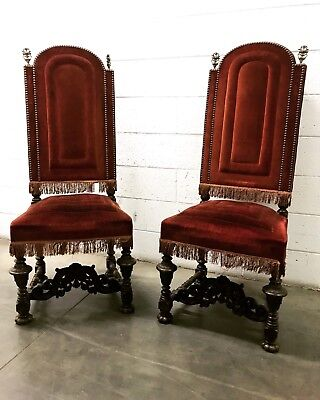 Antique 19th Century Pair of Spanish Revival Chairs