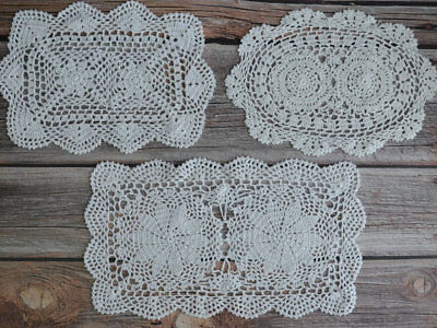 Set 3 White Crochet Lace Doilies Lot in bulk Rustic Wedding Table Runners