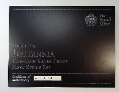 RARE***2013 Proof Silver Britannia 5 coin set *FIRST STRIKE* SET LIMITED TO 1500