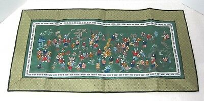 Asian Silk Embroidery People w Kites Dragon Tree Shades Green Stunning Piece T47