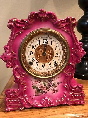 Large Antique French Pink Porcelain Mantle Clock