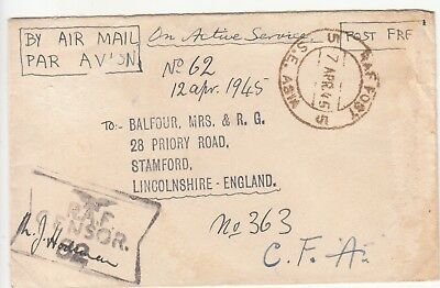 Burma: RAF SE Asia Sector RAFpost 5 O.A.S Censored Cover to Stamford, 7 Apr 1945