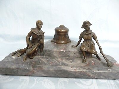 ANTIQUE VIENNA BRONZE INKWELL ON FOOTED MARBLE DESK STAND w/PEN TRAY, FIGURALS