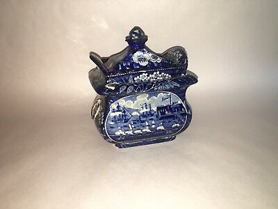 Historical Staffordshire Blue Sugar Bowl Landing Of Lafayette Ca. 1825