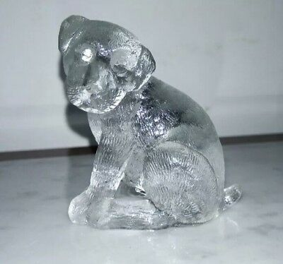 Old pressed glass dog in perfect condition Manufacture of Checoeslovakia
