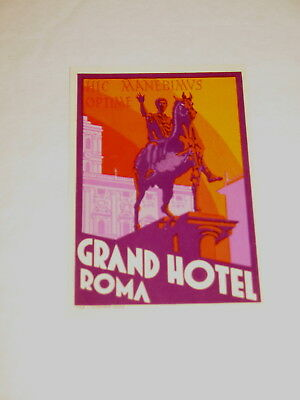 Grand Hotel Roma Rome Italy Vintage Luggage Label Smaller Version