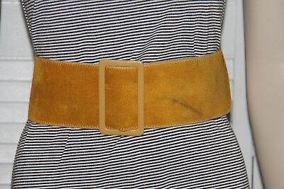1960's 1970's Wide Belt – Mustard Colored Suede – Super Thick