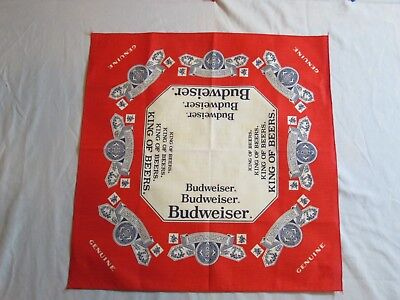 Vtg New Budweiser Beer Collector Neckerchief Scarf Table Cover Red 21x21