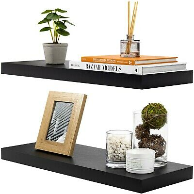 Sorbus Floating Shelves - Set of 2 (Black)