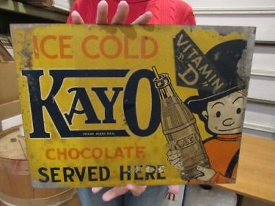 ORIGINAL 1920's - 30's KAYO CHOCOLATE SODA SIGN DOUBLE SIDED FLANGE SIGN EX RARE
