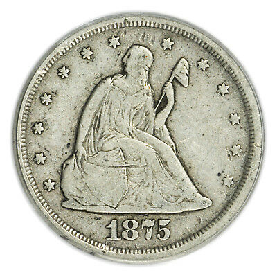 1875-S Seated Liberty 20 Cents Piece PCGS VF-30, Silver Coin, 20c [3715.12]