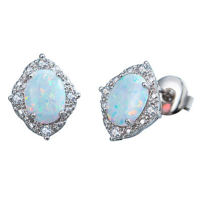 Created Opal 6*8cm oval Stud Earrings White F3B2 SR