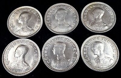 Thailand Dealers / Study Lot of 6 BE2505 1962 1 Baht Y 84 Coins in BU UNC