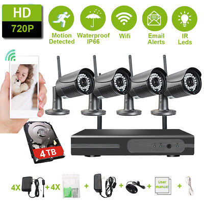 4CH 1080P NVR Outdoor Wireless Security System WiFi Network IP 720P Camera CCTV