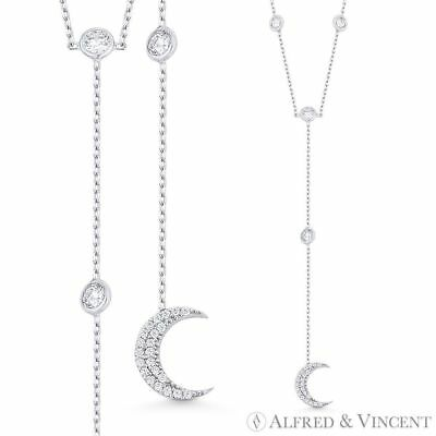 Crescent Moon Charm & Chain CZ Crystal Bezel Y-Necklace in .925 Sterling Silver
