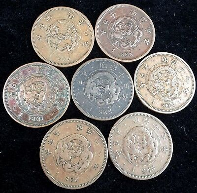 Japan Lot of 7 1 Sen Coins 1875, 1876, 1880, 1882, 1884, 1885 & 1886 Dragons!
