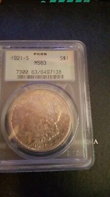 1921 S Morgan Silver Dollar Graded MS 63 by PCGS