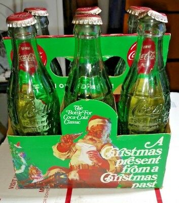 Vintage 6 PACK  8 OZ. empty BOTTLES with cap CLASSIC COCA-COLA Holiday edition,