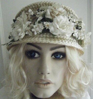 Vintage Made In The Usa 50's-60's Straw Net & Flower Bridal Garden Party Hat
