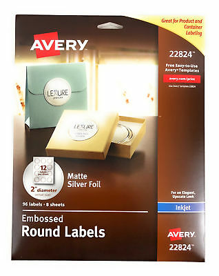"Avery Embossed Round Labels Paper Sticker 22824 Matte Silver Foil 2"" Inkjet 96ct"