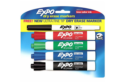 Expo Low Odor Dry Erase Markers, Chisel Tip, Assorted Ink, Pack of 4 + 1 UF MKR