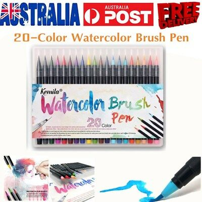 20-Color Watercolor Painting Pen Brushes Artist Sketch Drawing Marker Pens Sets