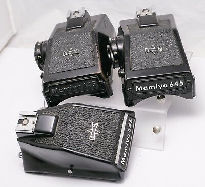 Lot of 3 Well Used Mamiya 645 M645 1000s Camera Prism Eye Level Finders