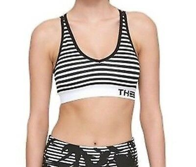 52cefbdafeb82 Women s Black TOMMY HILFIGER Size Small S Striped V-Neck Sports Bra -