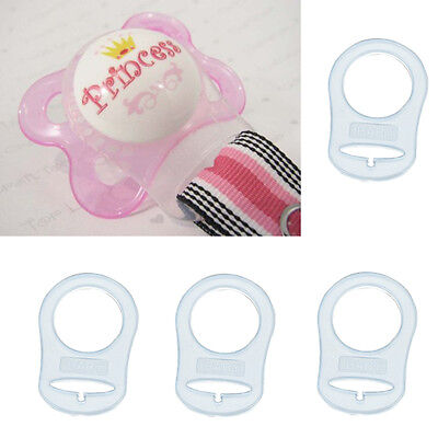 3pcs Child Clear Silicone Button MAM Ring Dummy Pacifier Holder Clip AdapterNice