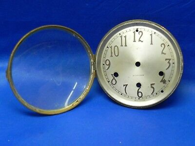 "Antique Seth Thomas Clock Metal Dial with Brass Bezel and Glass 5-1/2"" diameter"