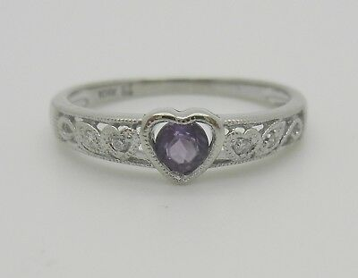 Antique Heart 10K White Gold Purple Amethyst And Diamond Ring~Size 7~Beautiful!