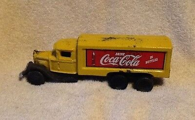 Vintage COCA COLA Cast Iron Truck / Yellow Toy Truck