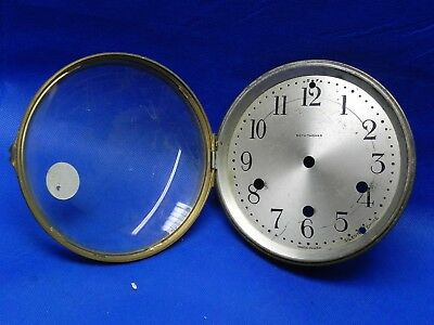 "Antique Seth Thomas Clock Dial with Bezel and Glass 5.5"" Diameter"