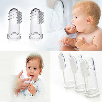 Safe Baby Teeth Clear Massager  Soft Silicone Kids Finger Toothbrush Brush Items