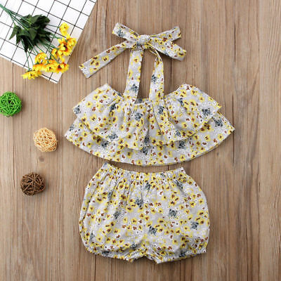 2PCS Flower Toddler Kid Baby Girl Strap Shirt Vest Tops+Short Pants Outfit Cloth
