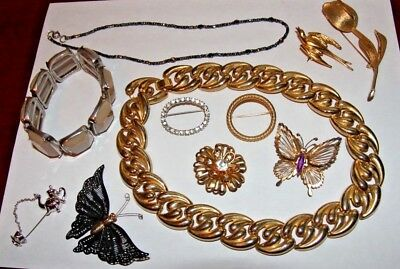 LOT Of Vintage Estate Costume Jewelry Pins Gold Butterfly Necklaces Diamond