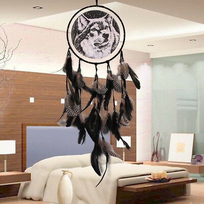 Wolf Dream Catcher Handmade With Feather Wall Hanging Decoration Ornament Gifts