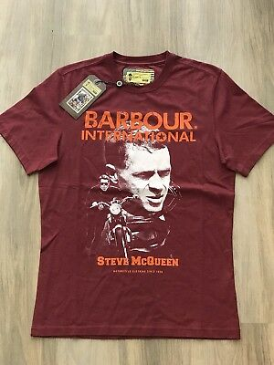 NWT Barbour Steve McQueen Collection Motorcycle T Shirt Red Mens Size Medium