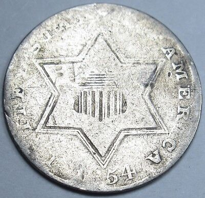 1854 US Three Cent Piece 3C 3 Penny Silver U.S. Antique Currency Old USA Coin