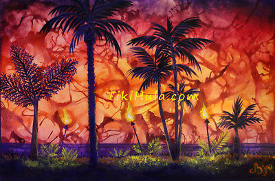 "36"" ORIGINAL Painting Tropical Palms Tiki Polynesian Hula Island Hot Lava CBjork"