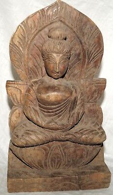 ANTIQUE OLD RARE COLLECTIBLE HAND CARVED Gautama Buddha Wooden Statue