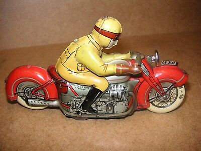 Georg Fischer GF Grosses Motorrad Uhrwerk US Zone Germany Tin bike Tole Latta