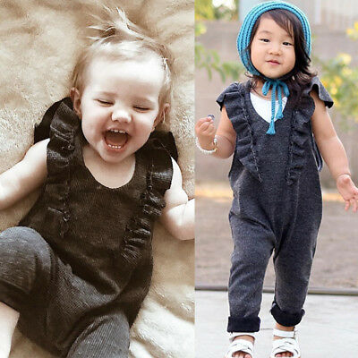 UK Kids Girls Sleeveless Jumpsuit Playsuit Overalls Pants Romper Clothes Outfit
